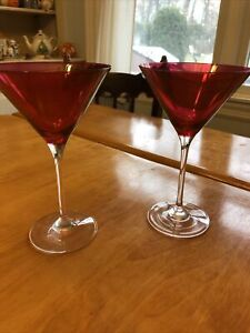 Set Of 2 Vintage Red Glass Martini Glasses