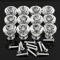 12pcs 25mm Diamond Shape Crystal Glass Cabinet Knob Cupboard Drawer Pull Handle