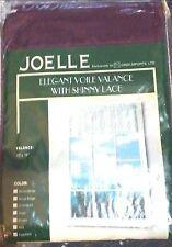 "Joelle Elegant Voile Valance W/ Shiny Lace 60"" x 18"" EGGPLANT (Purple) NEW"