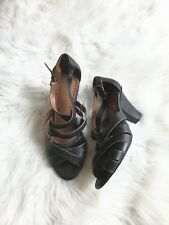 Ann Taylor Loft Women's Size 9 Black Leather Strappy Heels Shoes Sandals Career