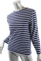 SAINT JAMES Navy White 100% Cotton Knit Striped Boatneck Tee Shirt   Sz XS