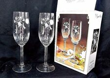 "8"" Fine Stemware Toasting Flutes Glasses Crystal Clear Expressions 6oz Cup JAPAN"