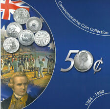 1966-1990 UNC 50c AUSTRALIAN COMMEMORATIVE 6 COIN COLLECTION SET