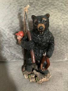 Black Bear Figurine Hunting Man Hunter - with Funny Country Cottage Decor  LQQK