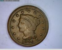 1846 Braided Hair Large Cent 1c old penny ( # 69s80 )