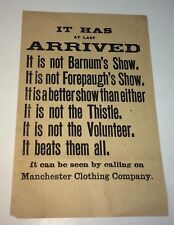 Rare Antique Victorian American Manchester Clothing Co. Not Barnum Advertising!