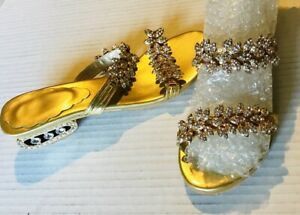 Party rhinestone gold sandals  FREE SHIPPING