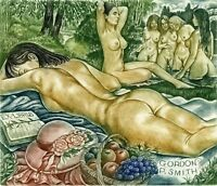 """Picnic""   Nude, Book, Fruits, Ex libris Etching by Sergey Kirnitskiy"