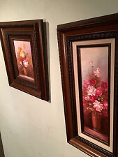 Robert Cox Signed Oils (2) Framed Amazing Florals Great Low Price Listed Artist