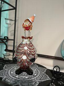 Vintage Venetian Murano Art Glass Clown, Hand Blown, Decanter