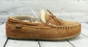 LL BEAN Men's Brown Shearling Lined Wicked Good Moccasin Slippers Size 9 M