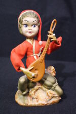 "Vintage Elf Pixie 7"" Figurine w/Mandolin, Pearl Rings, Red Felt Hat, Hong Kong"