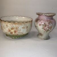 Vintage Maddock's Lamberton Works Royal Porcelain Floral BOWL AND VASE