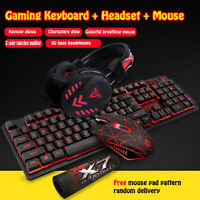 Gaming Backligh Keyboard and Mouse Set W/Headset USB Optical Wired Computer PC