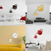 3D TEAPOT CUP ACRYLIC MIRROR WALL CLOCK STICKERS DIY HOME DECOR DECALS ORNATE
