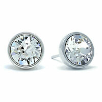 Stud Earrings with White Clear Round Crystals from Swarovski Rhodium Plated