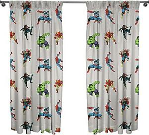 """Marvel Comics Grey Readymade Curtains 66"""" Wide x 72"""" Drop Matches Bedding"""