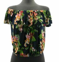 Ambiance Women's Sleeveless Top Navy Blue Floral Casual Shirt Tie Front