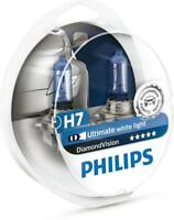H7 PHILIPS Diamond Vision 5000K Ultimate White Light Bulbs Headlamp Genuine