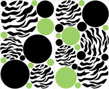 POLKA DOTS CIRCLES Zebra print big wall stickers 33 decals Green Black teen dorm