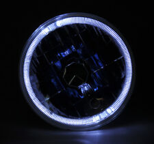 "7"" Round Glass Semi Sealed H4 Halo Angel Eye Headlight Conversion w/ Bulbs Plym"