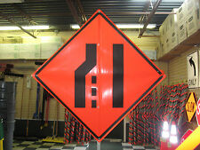 "Merge Right Symbol Fluorescent Vinyl w/ Ribs 48""x48"" Roll Up Construction Sign"
