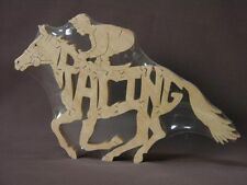 Race Horse & Jockey Wooden Amish Made Racing Puzzle Toy Figurine Art