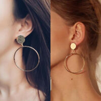 Women Ring Silver Circle Smooth Metal Chic Big Earrings Hoop Gold Large Fashion