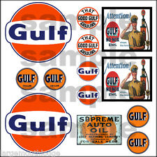 GULF OIL 1:87 HO SCALE BUILDING DIORAMA GAS STATION SIGNS DECALS FREE FLAG
