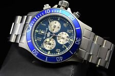 "Glycine Men 42mm Combat Sub Sapphire Chrono ""SWISS MADE"" Blue Silver Watch 1004"