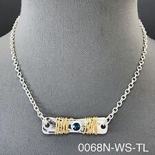 Silver Chain Hammered Bar Clear Blue Bohemian Style Gold Wired Design Necklace