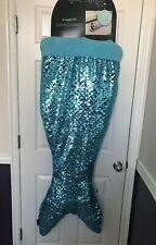 NWT Cynthia Rowley Sequin Mermaid Tail Snuggle Wrap Blanket Sleeping Bag Blue