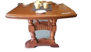 Vintage Double Pedestal Walnut Dining Table Rustic Old English European w Leaf
