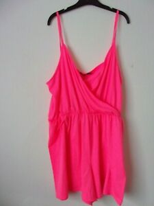 New Boohoo Neon Pink Plus Flippy Jersey Playsuit Size: UK 24 RRP: £16