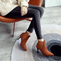 Women's Suede High Heels Pointed Toe Stilettos Ankle Chelsea Boots Fashion Shoes