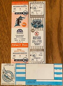 florida marlins tickets VS boston  COLORADO BLANK TICKETS selling lots of others