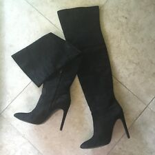Alexander Wang Over the Knee Boots Black Size 40 Leather Suede