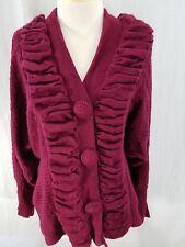 Emma G Womens Cardigan Pink Fuchsia Ruffles Dolman Sleeves Acrylic Wool Large