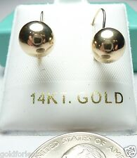 14k Pure Yellow Gold 8MM Ball Leverback Earrings w/Gift Box/Stamped & Gauranteed