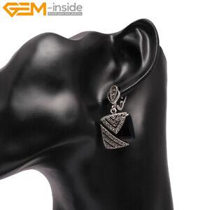 Dangle For Women Square Gemstone Beads Tibetan Silver Marcasite Earrings Charm