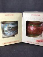 VINTAGE Hallmark Grandfather Glass Christmas Ornament 1980 & 1981 - LOT OF 2
