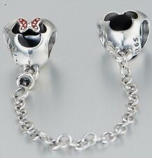 MICK & MINN  MOUSE EARS SAFETY CHAIN  .925 Sterling Silver European Charm Bead