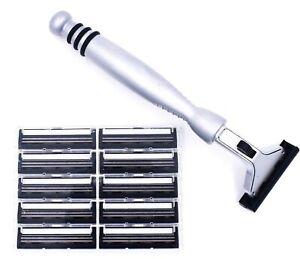 All Metal Gillette Atra Compatible Heavy Razor & 10 Personna Pivot Plus Blades