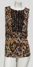 CLASSIQUES ENTIER Orange Floral Print Stretch Silk Knit Ruffle Blouse Top size M