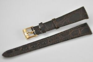 15mm Omega Vintage Band Strap Brown with Gold Plated Buckle NOS Mint W38