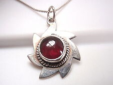 Red Garnet Necklace 925 Sterling Silver Rope Style Accents Corona Sun Jewelry