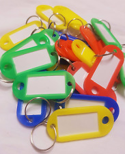 KeyTags Coloured Plastic Assorted Rings  Luggage Label Name Keyring ID x 15