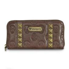 Loungefly Embossed Skulls with Pyramid Studs Brown Clutch Wallet Rockabilly