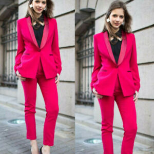 Fuchsia Women Ladies Suits 2pieces Business Wedding Tuxedos Prom Party Work Wear