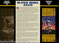 Super Bowl XXVII 27 Gold Replica Ticket Sealed in 9x12 Card Cowboys vs Bills